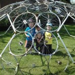Kate and her boys in a geodesic dome
