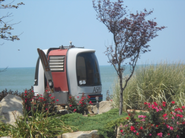 Cable car in a yard along Lake Erie