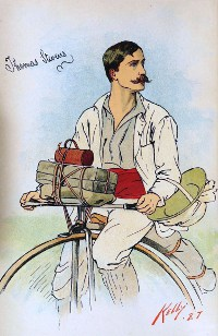 Thomas Stevens on high wheel bicycle
